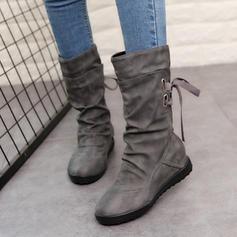 Femmes Similicuir Talon plat Bout fermé Bottes Bottes mi-mollets Martin bottes Bottes cavalières avec Boucle Dentelle chaussures