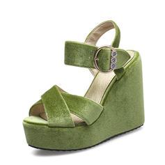 Femmes Suède Talon compensé Sandales Compensée À bout ouvert Escarpins avec Strass Boucle chaussures