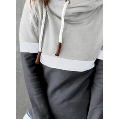 Blok Koloru Bluza z kapturem Długie rękawy Bluza z kapturem