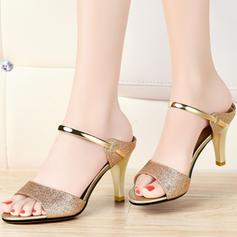 Mulheres Espumante Glitter Salto agulha Peep toe Sandálias Sapatos abertos