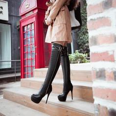 De mujer PU Tacón stilettos Salón Plataforma Botas Botas a la rodilla con Hebilla Cremallera zapatos
