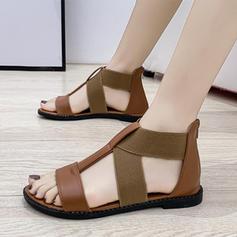 Жіночі Шкіра Низька підошва Сандалі з Блискавка Еластичний бинт взуття