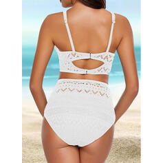 Solid Color Push Up Strap V-Neck Sexy Bikinis Swimsuits