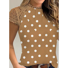Print Lace PolkaDot Round Neck Short Sleeves Casual Blouses