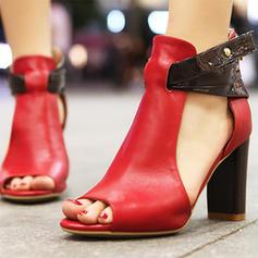 Frauen PU Stämmiger Absatz Sandalen Absatzschuhe Peep Toe mit Andere Schuhe