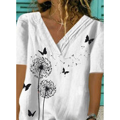 Animal Print V-Neck Short Sleeves Casual Blouses