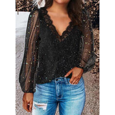 Print Lace Sequins V-Neck Long Sleeves Elegant Blouses