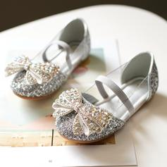 Girl's sprankelende glitter Flat Heel Ronde neus Closed Toe Flats met strik Elastiek