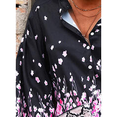 baskı Çiçekli V yaka 3/4 Kollu Düğmesiz Yakalı Günlük Gömlekler