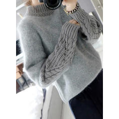Mohair Turtleneck Cable-knit Sweater