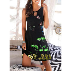 Floral/Animal Print Sleeveless Shift Above Knee Casual/Vacation Tank Dresses