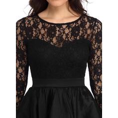 Koronka/Jednolita Długie rękawy W kształcie litery A Asymetryczna Wintage/Mała czarna/Przyjęcie/Elegancki Sukienki