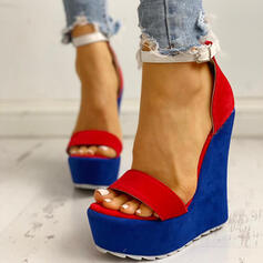 Women's Suede Wedge Heel Sandals Wedges Peep Toe With Split Joint shoes