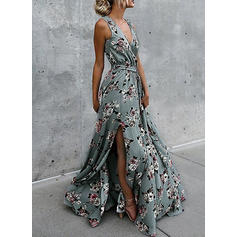 Print/Floral Sleeveless A-line Wrap Casual/Boho/Vacation Maxi Dresses