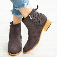 Women's PU Chunky Heel Pumps Closed Toe Boots With Zipper shoes
