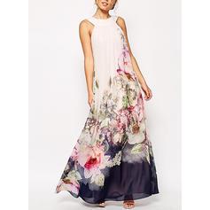 Druck/Blumen Ärmellos A-Linien Maxi Freizeit/Urlaub Kleider