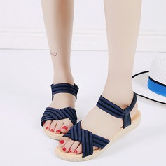 Women's Leatherette Fabric Wedge Heel Sandals Peep Toe Slingbacks With Braided Strap Elastic Band shoes