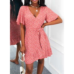 Print Short Sleeves Flare Sleeve A-line Knee Length Casual Skater Dresses