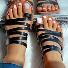 Mulheres Couro Brilhante Sem salto Sandálias Chinelos com Oca-out sapatos