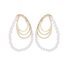 Unique Shining Beautiful Alloy Imitation Pearls Silver Plated Earrings