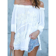 Solid Lace Off the Shoulder 3/4 Sleeves Casual Blouses