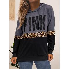 Распечатать Цветной блок леопард Длинные рукова Толстовка с капюшоном