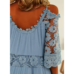Lace/Solid 3/4 Sleeves Shift Above Knee Elegant/Vacation Dresses