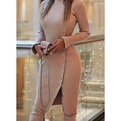 Solid Long Sleeves Sheath Sweater Casual Midi Dresses