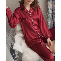Cuello de camisa Manga Larga Color sólido Simple Conjuntos de pijamas