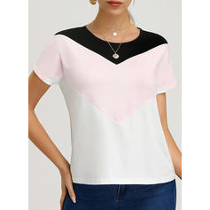 Color Block Round Neck Short Sleeves Casual Elegant T-shirts