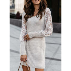 Lace/Solid Long Sleeves Bodycon Above Knee Casual Sweater Dresses