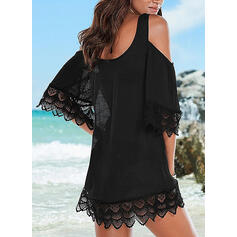 Lace/Solid 3/4 Sleeves/Cold Shoulder Sleeve Shift Above Knee Little Black/Casual/Vacation Tunic Dresses