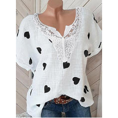 Print Lace V Neck Short Sleeves Casual Blouses