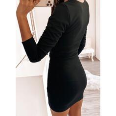 固体 長袖 ボディコンドレス 膝上 リトルブラックドレス/カジュアル ドレス