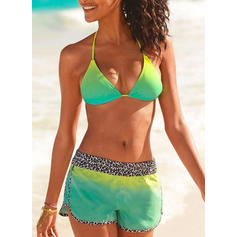 Splice color Neon Halter Sexy Bikinis Swimsuits