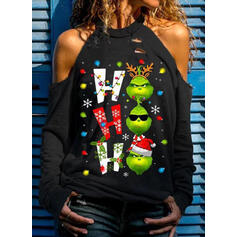 Print Figure Cold Shoulder Long Sleeves Christmas Sweatshirt