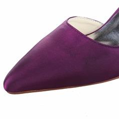 Women's Satin Chunky Heel Closed Toe Pumps With Rhinestone