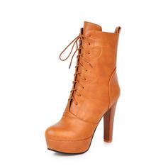 Mulheres PU Salto agulha Bombas Plataforma Botas Botas na panturrilha com Aplicação de renda sapatos