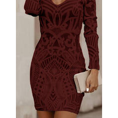 Print Long Sleeves Bodycon Above Knee Little Black/Elegant Dresses