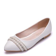 Femmes Similicuir Talon plat Bout fermé Chaussures plates avec Perle d'imitation Chaîne