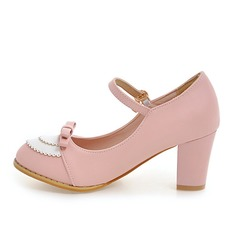 Donna Similpelle Tacco spesso Stiletto Punta chiusa Mary Jane con Bowknot scarpe