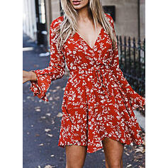 Print/Floral Long Sleeves/Flare Sleeves Sheath Above Knee Casual/Elegant/Vacation Dresses