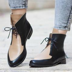 ПУ Квадратні підбори Бокові черевики Мартіновські черевики з Зашнурувати взуття
