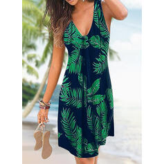 Estampado/Floral Sem mangas Evasê Acima do Joelho Casual/Férias Vestidos