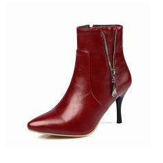 Mulheres Couro Salto agulha Bota no tornozelo com Zíper sapatos