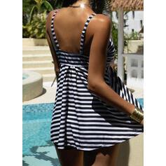 Stripe Strap Vintage Plus Size Tankinis Swimsuits