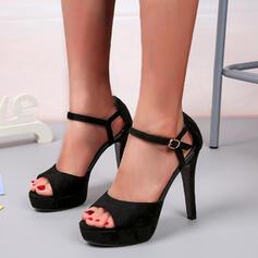 Frauen Kunstleder Stöckel Absatz Absatzschuhe Peep Toe mit Schnalle Einfarbig Schuhe