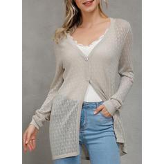 polyester Långa ärmar Solid Cardigans