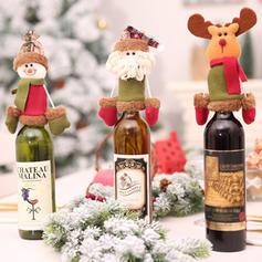 Merry Christmas Snowman Reindeer Santa Non-Woven Fabric Christmas Décor Bottle Cover