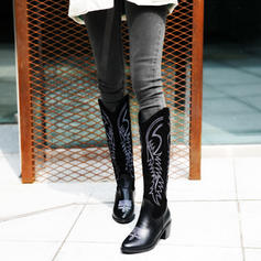 Women's Leatherette Chunky Heel Knee High Boots With Others shoes